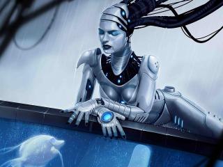 girl, cyborg, mechanism wallpaper