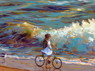 GIrl Cycling Near Sea 4K wallpaper