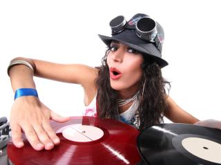 girl, dj, vinyl wallpaper