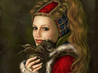 girl, dragon, animal wallpaper
