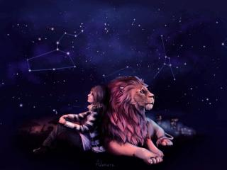 Girl Dreaming With Lion wallpaper