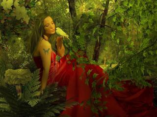 girl, dress, forest wallpaper