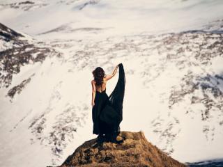 HD Wallpaper | Background Image girl, dress, mountains