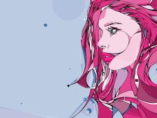 girl, face, line wallpaper