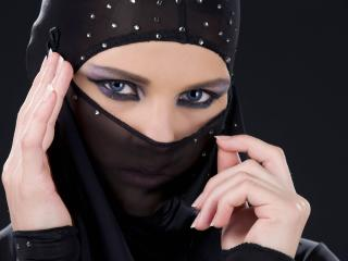 girl, face veil, black background wallpaper