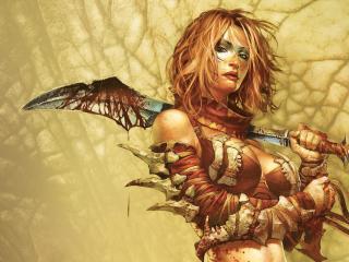 girl, guns, blood wallpaper