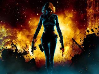 girl, guns, fire wallpaper
