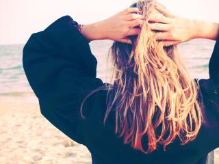 girl, hands, hair wallpaper
