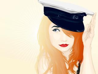 girl, hat, facial wallpaper