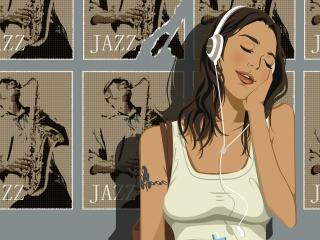 girl, headphones, jazz wallpaper