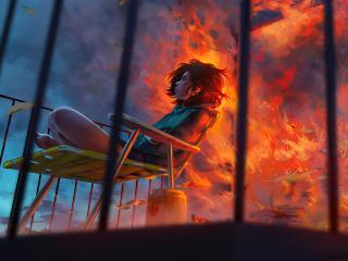 Girl In Flame wallpaper