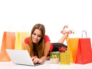 girl, laptop, shopping wallpaper