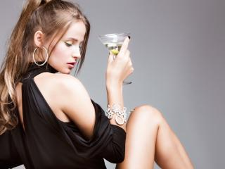girl, martini, gray background wallpaper