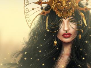 girl, mask, lion wallpaper