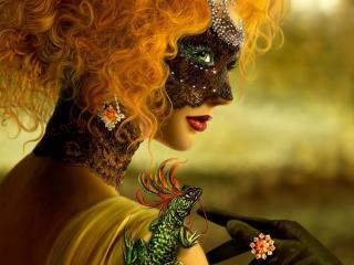 girl, mask, masquerade wallpaper