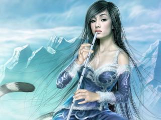 girl, mountains, warrior wallpaper