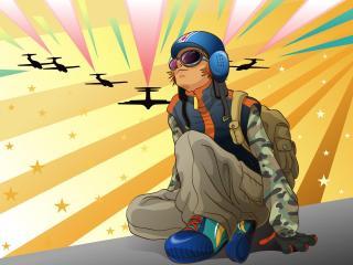 girl, planes, jump wallpaper