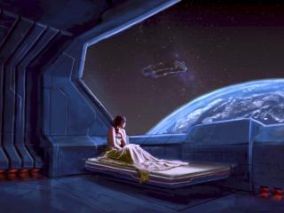 girl, planet, ship wallpaper