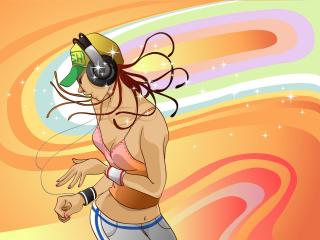 girl, player, bright wallpaper