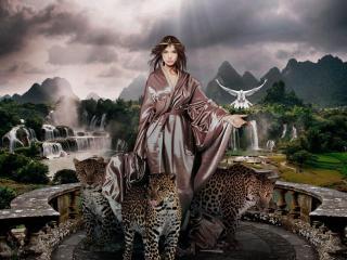 girl, predators, jaguars wallpaper