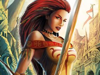 girl, red-haired, sword wallpaper
