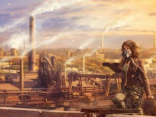 girl, roof, urbanization wallpaper