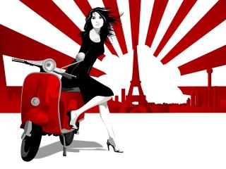 girl, scooter, paris wallpaper