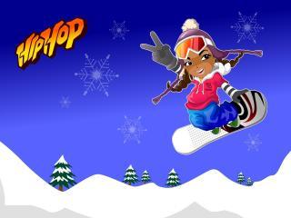 girl, snowboarding, jump wallpaper