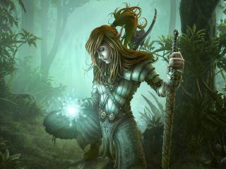 girl, soldier, magic wallpaper