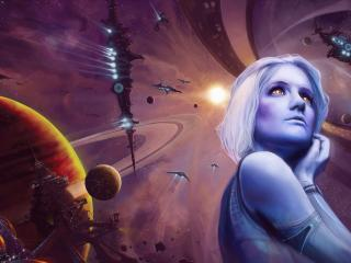 girl, space, spaceship wallpaper