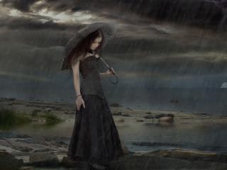 girl, umbrella, rain wallpaper