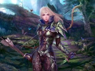 girl, warrior, bow wallpaper