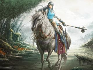 girl, warrior, horse wallpaper