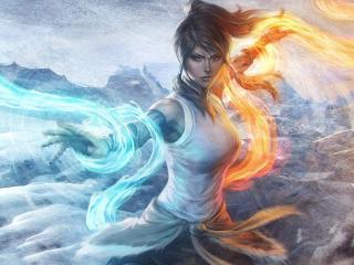girl, water, flames wallpaper