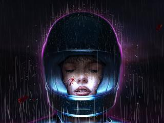 Girl With Helmet In Rain Retro Art wallpaper
