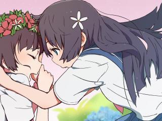 girls, anime, emotions wallpaper