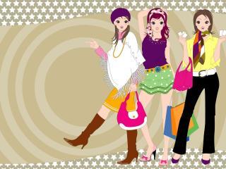 girls, friends, walk wallpaper
