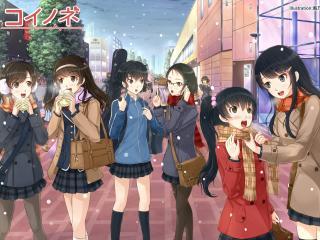 girls, snow, city wallpaper