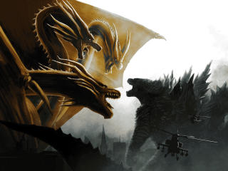Godzilla vs King Ghidorah In Godzilla King of the Monsters wallpaper