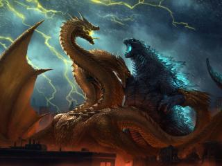 Godzilla vs King Ghidorah King of the Monsters wallpaper