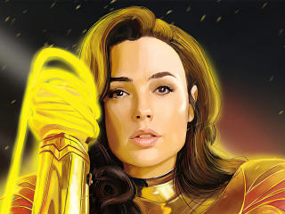 Gold Wonder Woman with Lasso of Truth Art wallpaper