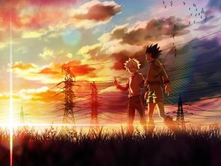 Gon and Killua walking at a beautiful sunset wallpaper