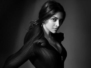 Gorgeous Actress Deepika Padukone Black and White Photoshoot wallpaper