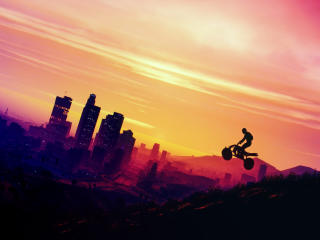 Grand Theft Auto V Motorcycle Flying wallpaper
