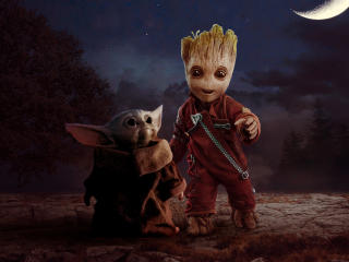 Groot and Baby Yoda wallpaper