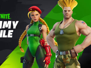Guile and Cammy Street Fighter Fortnite wallpaper