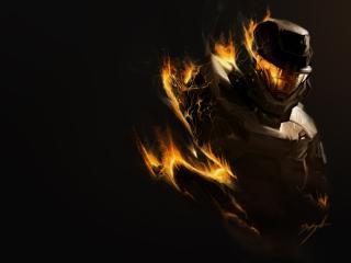 halo, fire, soldier wallpaper