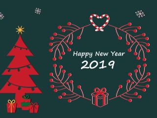Happy New Year and Merry Christmas 2019 wallpaper