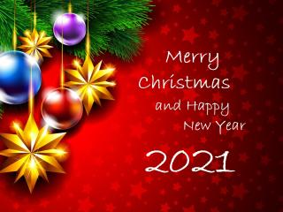 Happy New Year Merry Christmas 2021 Greeting wallpaper