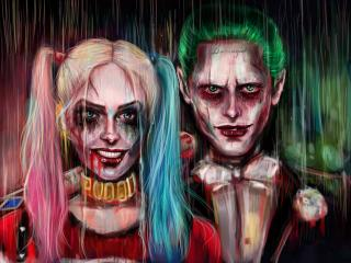 HD Wallpaper | Background Image  Harley Quinn Joker Painting Artwork